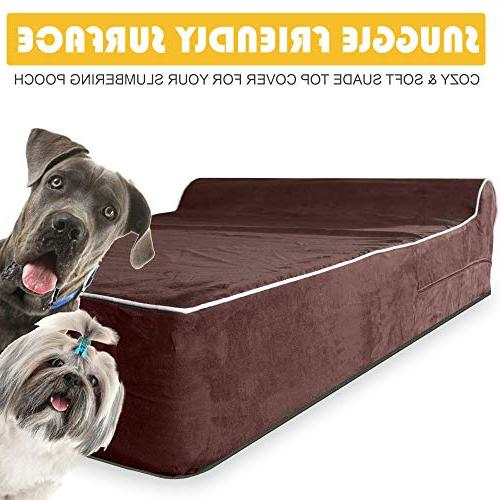 JUMBO XL Memory Foam Dog Bed - HeadRest INCLUDES Liner and Removable, Easy to Clean Suede Cover Slip Bottom Brown