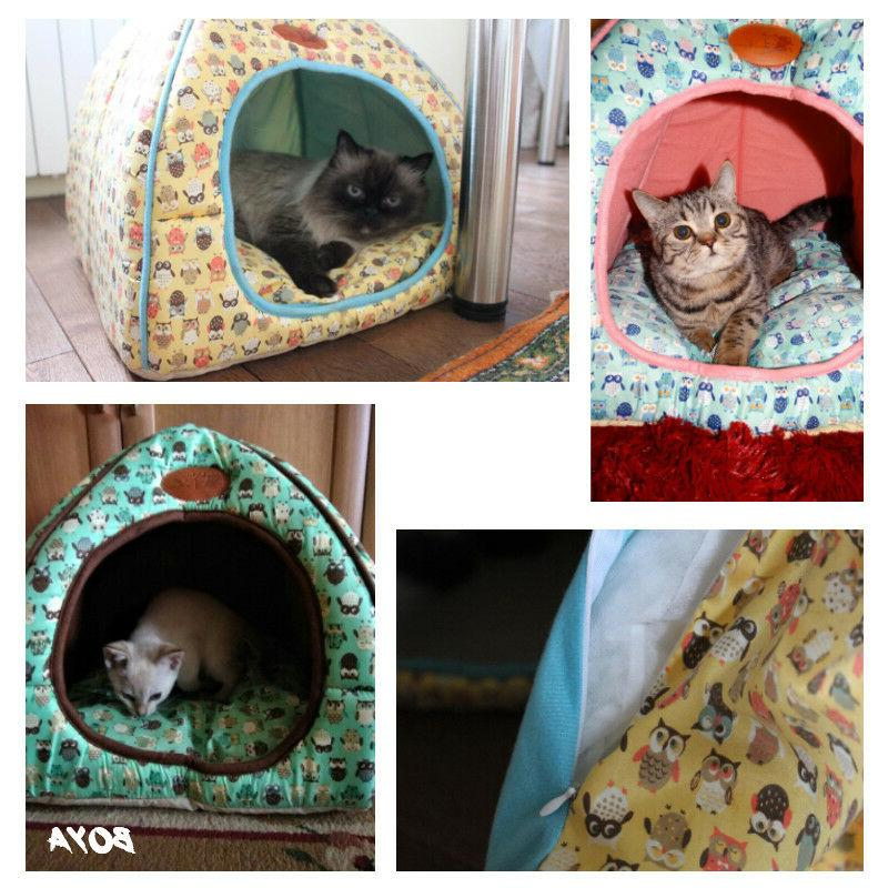 Foldable Cat Bed Tent House Warm Soft Dog Cute Puppy House