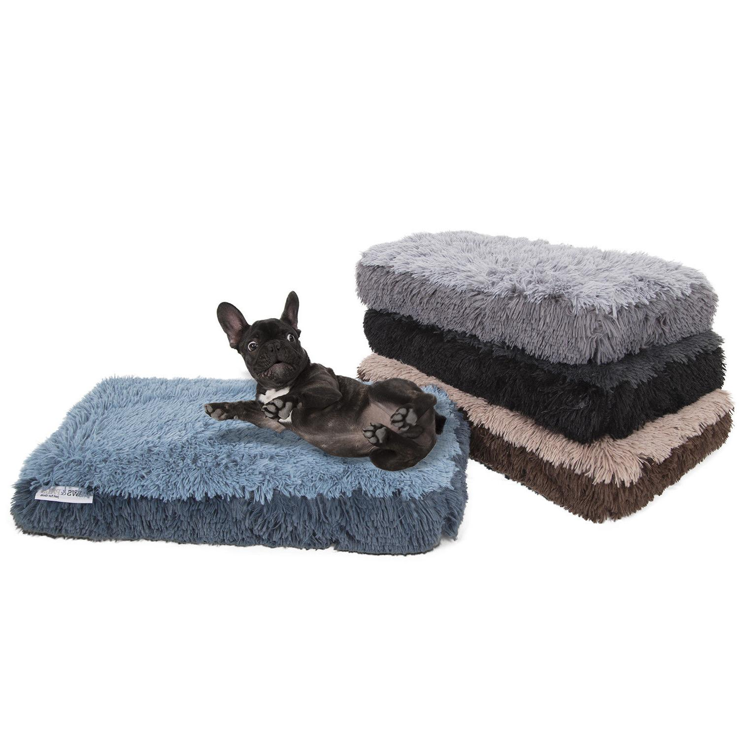 Fuzzy Bed Pet Lounger Deluxe Cushion Crate Foam Comfortable