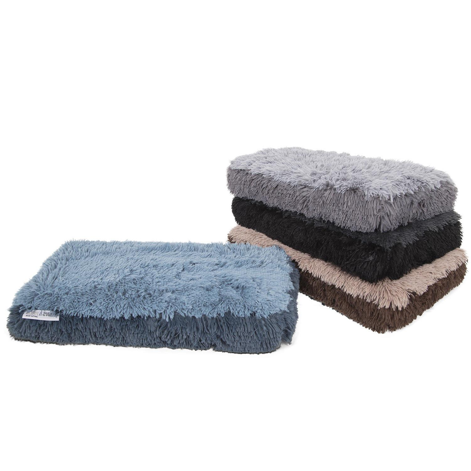 Fuzzy Dog Bed Pet Lounger Deluxe Cushion Crate Foam Soft War