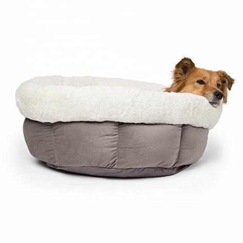 Best Friends Sheri Jumbo Cuddle Cup Cozy, Cat Dog High-Walls for Sleep, Gray