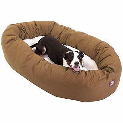 khaki sherpa bagel dog bed