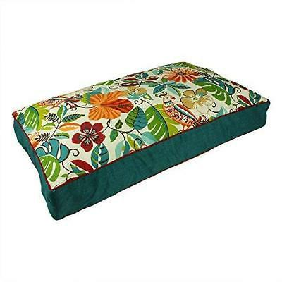 X Large Green Jungle Floral Pattern Dog Bed Colorful Flowers