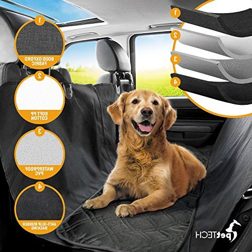 Simple Installation /& Easy To Clean 100/% Waterproof Anti-Slip Design PetTech Luxury Dog Car Seat Cover For Rear Seats