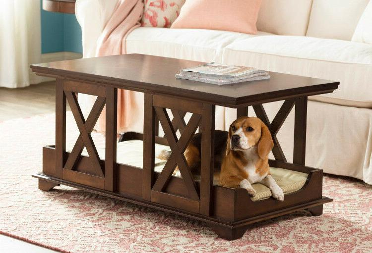 Luxury Pet Bed Coffee Table Dog Cat Sleeping Shelter Wooden