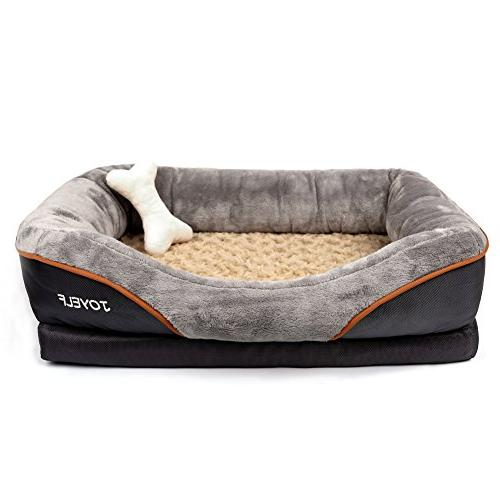 Dog Bed Sofa with Removable Squeaker Toy as
