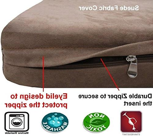Dogbed4less Foam Dog Pillow Orthopedic Waterproof Liner and Brown Microsuede Bed Cover Inches