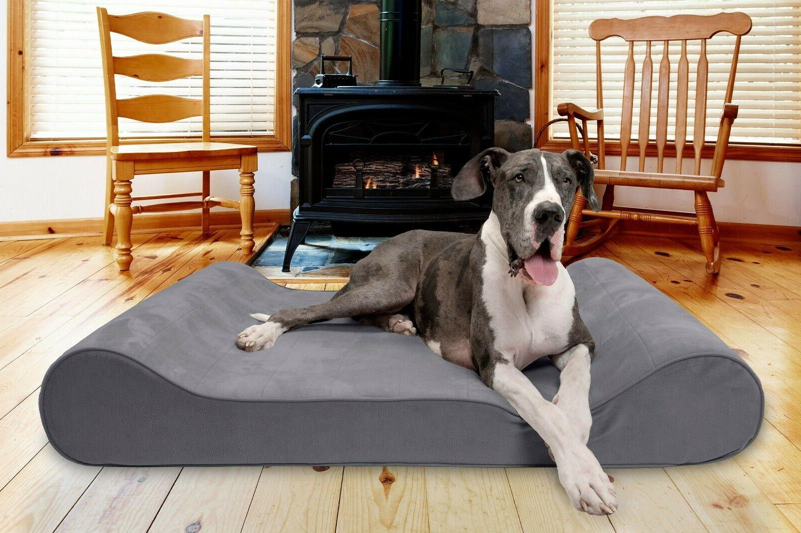 FurHaven Microvelvet Luxe Lounger Contour Orthopedic Dog Bed