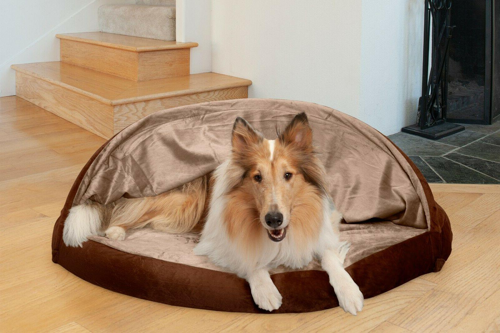 FurHaven Microvelvet Snuggery Orthopedic Dog Cave Bed Pet Be