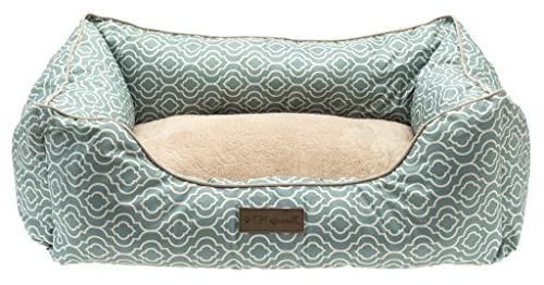 Pet Trendy Trellis Bolstered-Microfiber Pet Bed Dog and 28-Inch Blue
