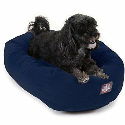 navy velvet bagel dog bed