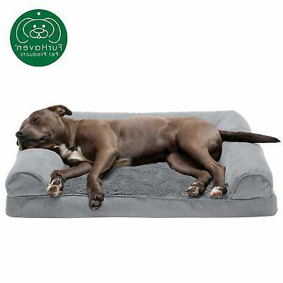 new furhaven large plush and suede orthopedic