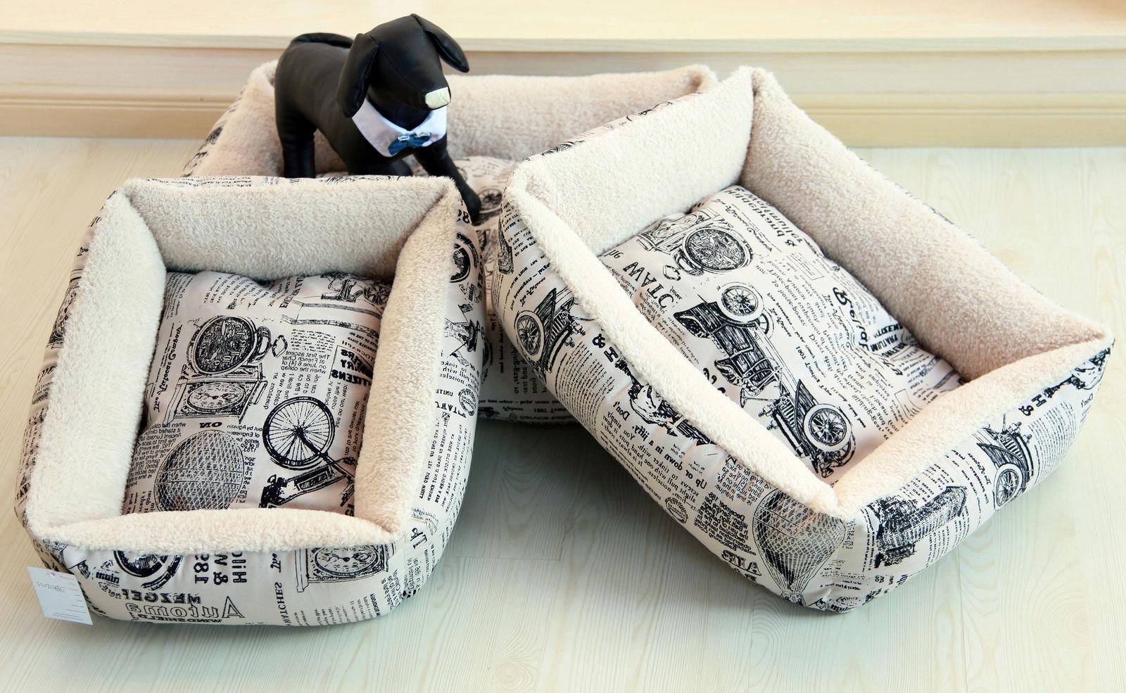 Newspaper Vintage Pet Bed Cushion Dog Cat Warm Mat Soft Pad Nest For Crate House