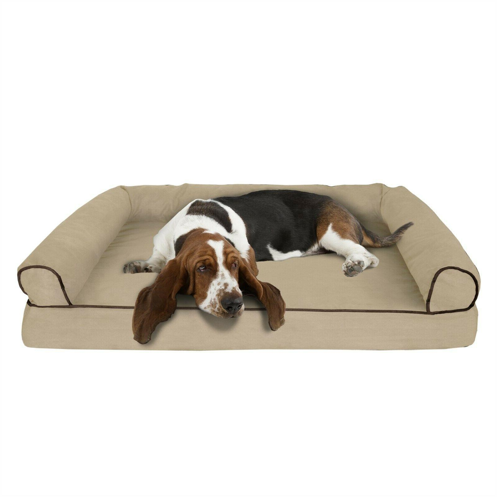 Orthopedic Dog Bed with Comfy Bolster Large XL Dogs Under 90