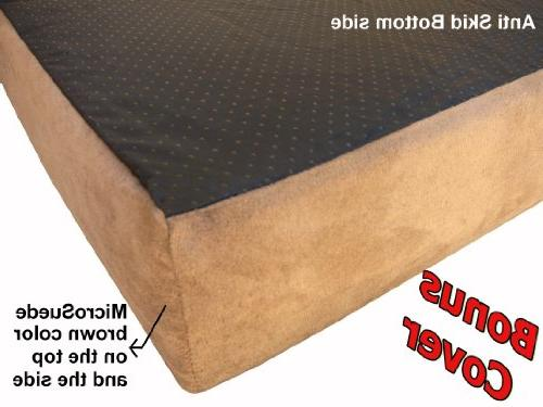 Dogbed4less Orthopedic Memory Foam Dog Large Waterproof and Extra Cover, XXL 55X37X4 Pad, Brown