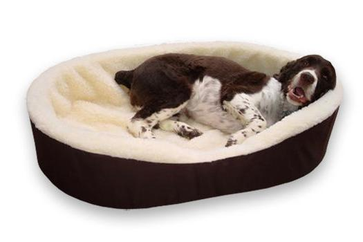 Dog Bed King USA Pet Beds. Brown/Imitation Lambswool In Medi