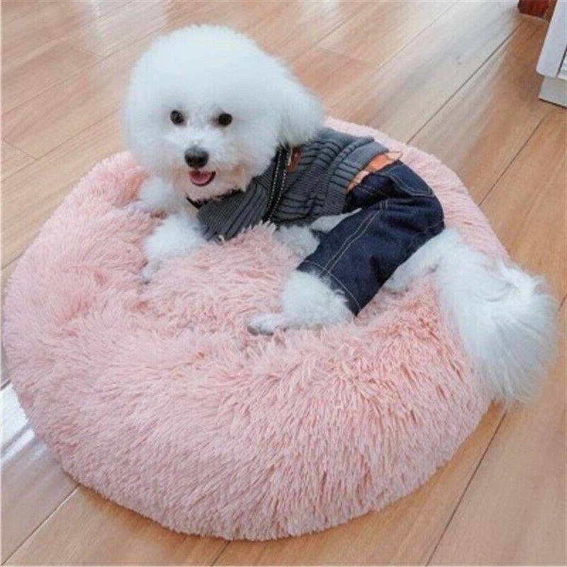 Pet Cat House Plush Kennel Bed Round Mats