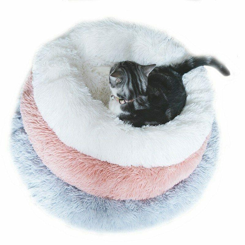 Pet Cat House Plush Kennel Bed Round