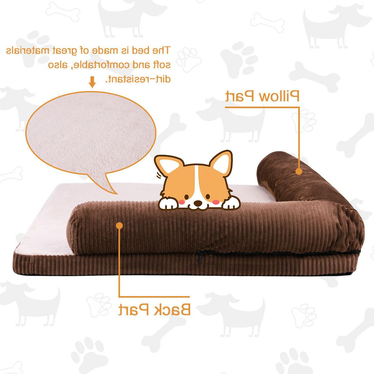 Pet Dog Cushion Removable Corduroy Cover