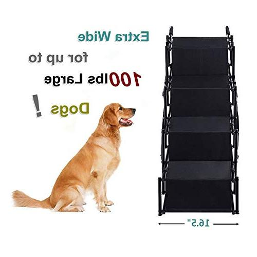 Pet Car Stairs, Accordion Folding Ramp Indoor Portable and Cat for Cars, Trucks SUVs Cargo, Couch High Bed