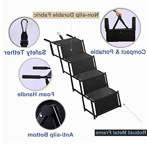 Pet Dog Step Stairs, Accordion Metal Folding Pet for Indoor Portable Auto Dog and Cat Ladder, for Trucks SUVs Cargo, Couch High