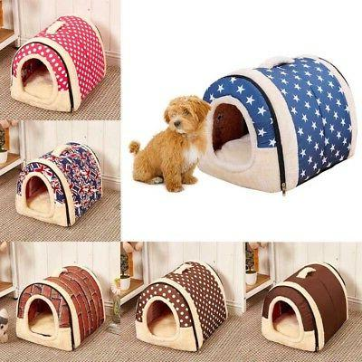 Dog Pet Cat Bed House Portable Puppy Plush Bed Warm Kennel C