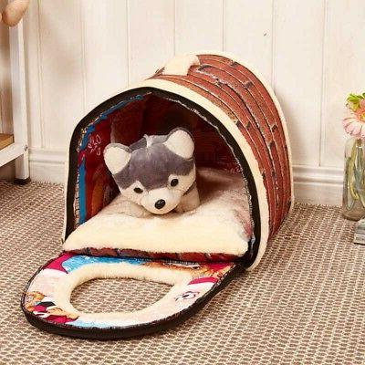 Pet Cat Dog Bed House Portable Puppy Warm Kennel Cave Nest P