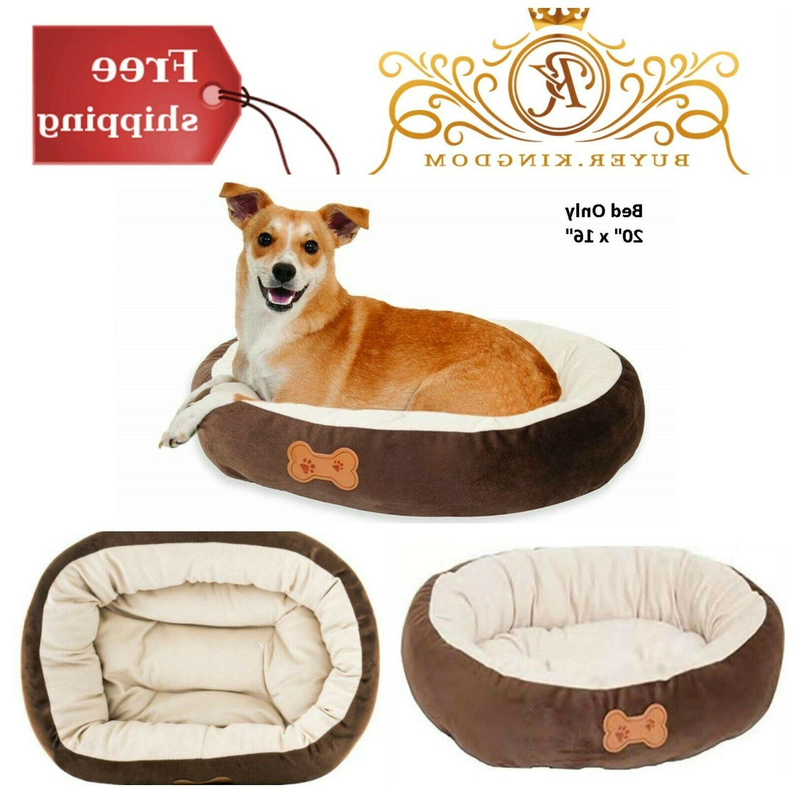 Pet Dog Cat Cuddler Oval Bed With Bone Applique For Small Br