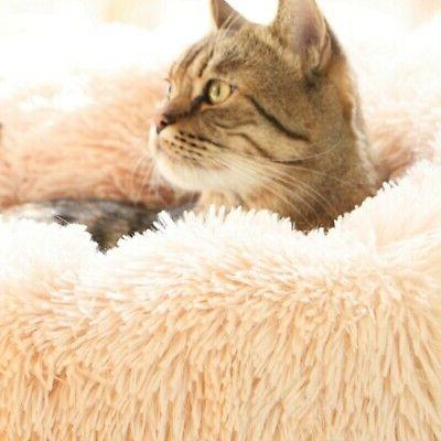 Pet Round Nest Soft Plush Bed for
