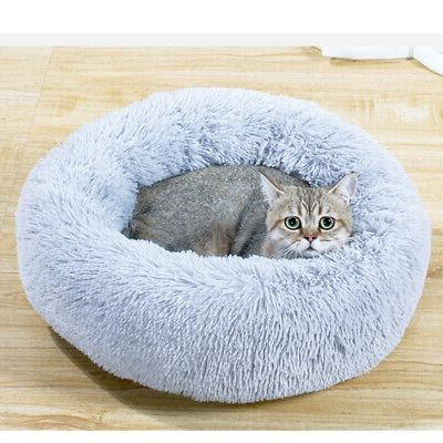 Pet Calming Bed Plush Round Nest Sleeping Comfy