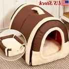 Pet Dog House Cage Bed Puppy Cat Warm Kennel Cabin Cushion M