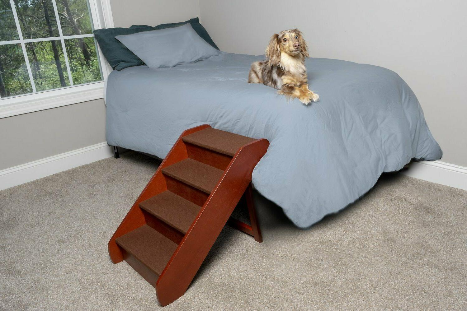 Pet Stairs Dog Cat Steps Bed Couch Walnut to 200 Pounds