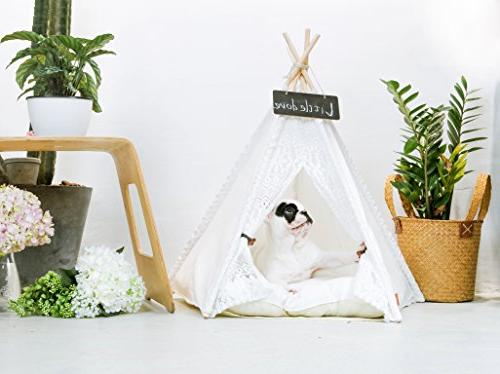 little dove Pet Teepee Dog - Pet Tents & for & Cat Lace 24 Inch