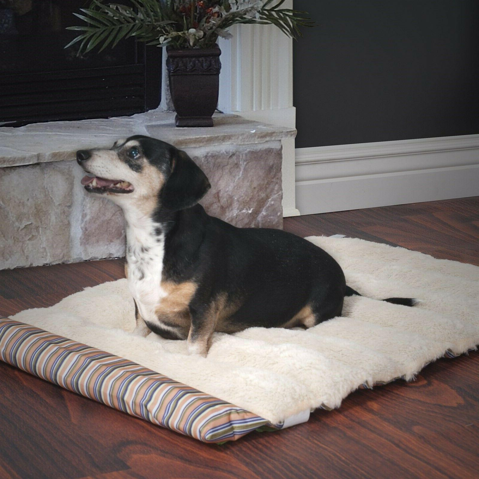 roll portable dog bed stripe