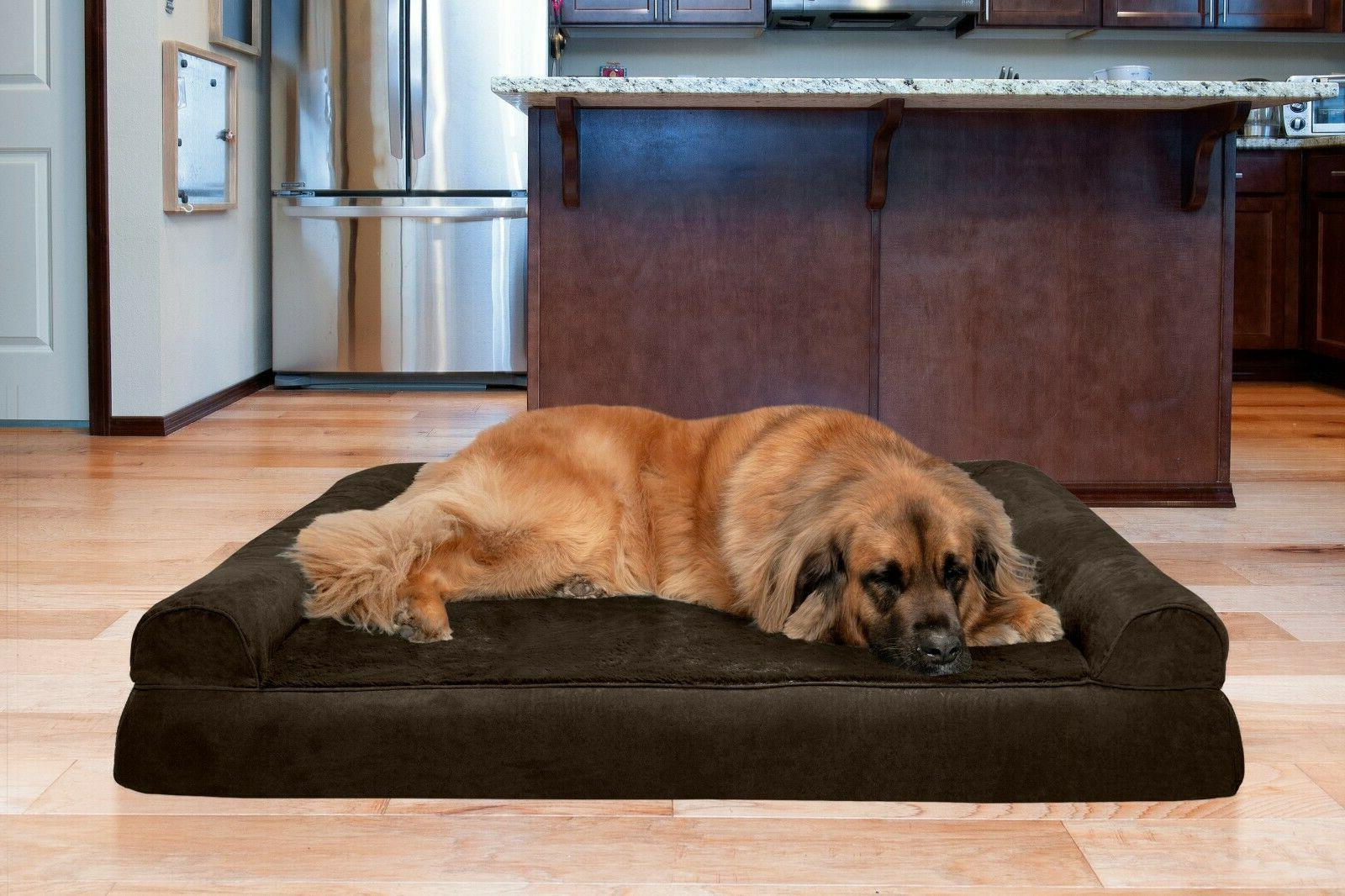 plush and suede orthopedic sofa dog bed