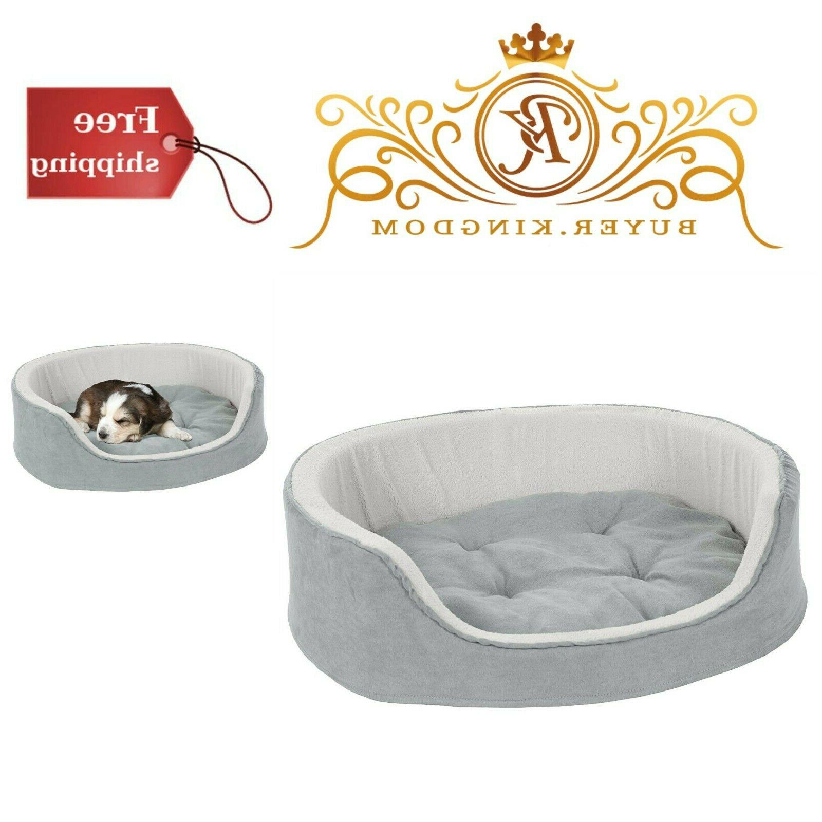 Plush Pet Bed Round Dog Cat Soft Warm Sleeping Microsuede Ho