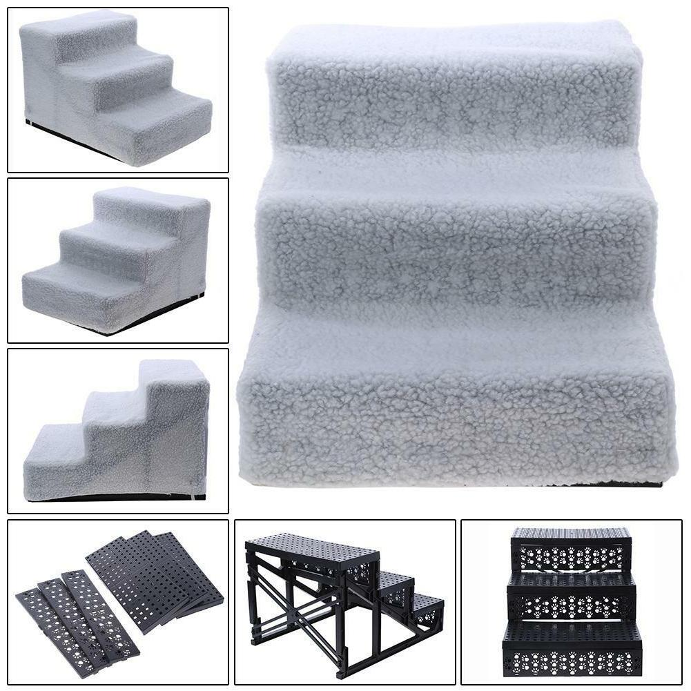 Portable 3 Stairs for Cat Ramp Removable Cover Mat
