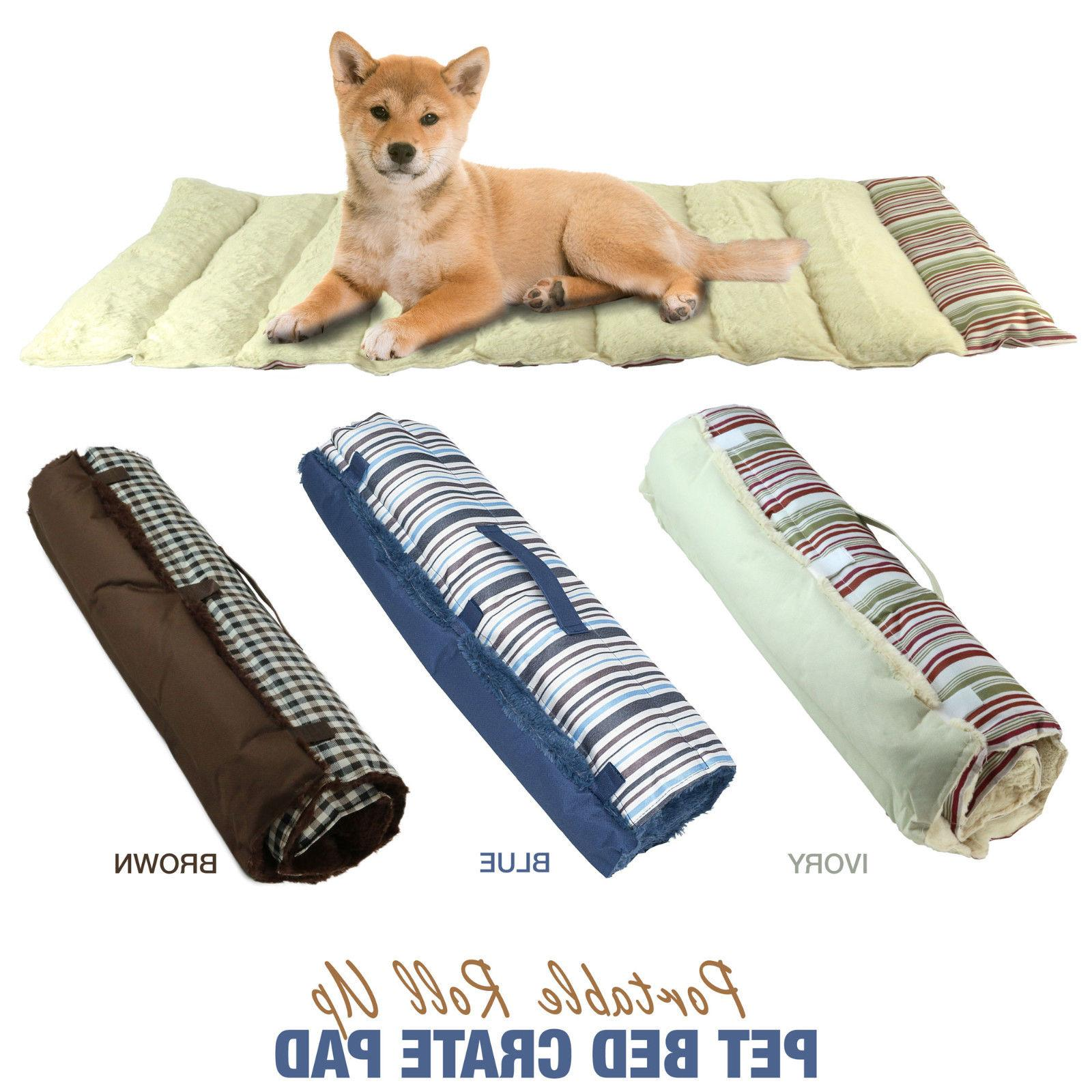 Portable Dog Bed Pet Roll Up Travel Mat Crate Pad Cushion Br