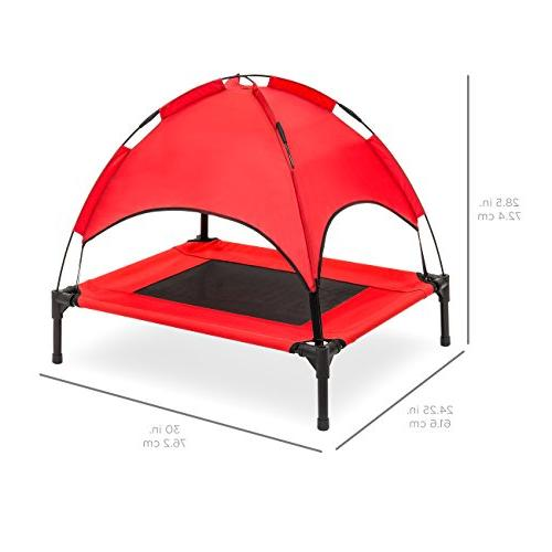 Best Raised Mesh Cot Dog Bed w/Removable Tent, Travel Bag - Red