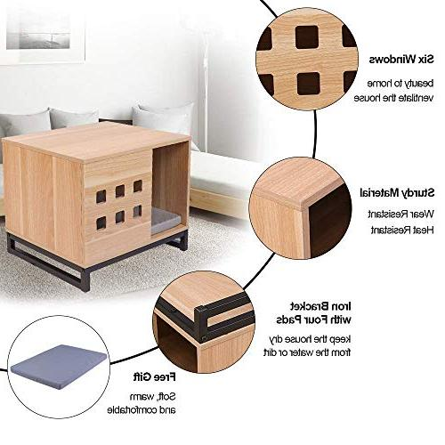BBvilla Rectangle Wooden Pet House Ins Cabin Vents, Kennelfor Small Dogs/Pets/Cats