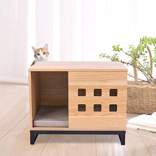 BBvilla Rectangle Wooden House Ins Cabin with Vents, Indoor Dogs/Pets/Cats Bed