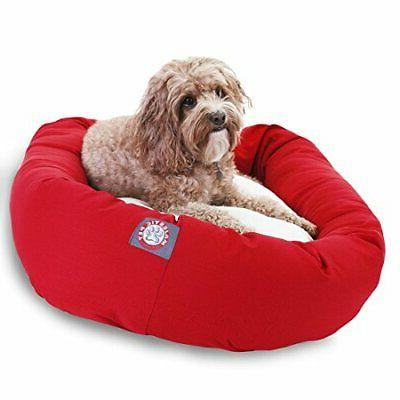 red sherpa bagel dog bed