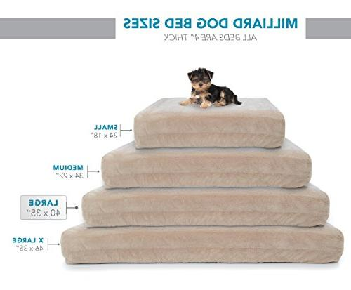 Milliard Orthopedic Foam Dog Bed Removable Waterproof Cover 40 x 35 in. x