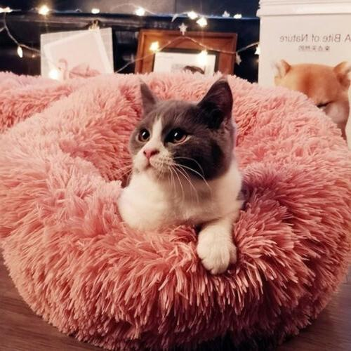 Round Donut Pet Dog Cat Cuddler Calming Bed Kennel