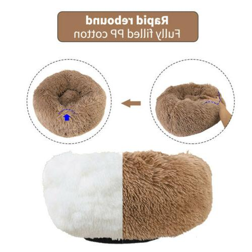 Cat Bed Warm Comfortable Fur Round Pet Small