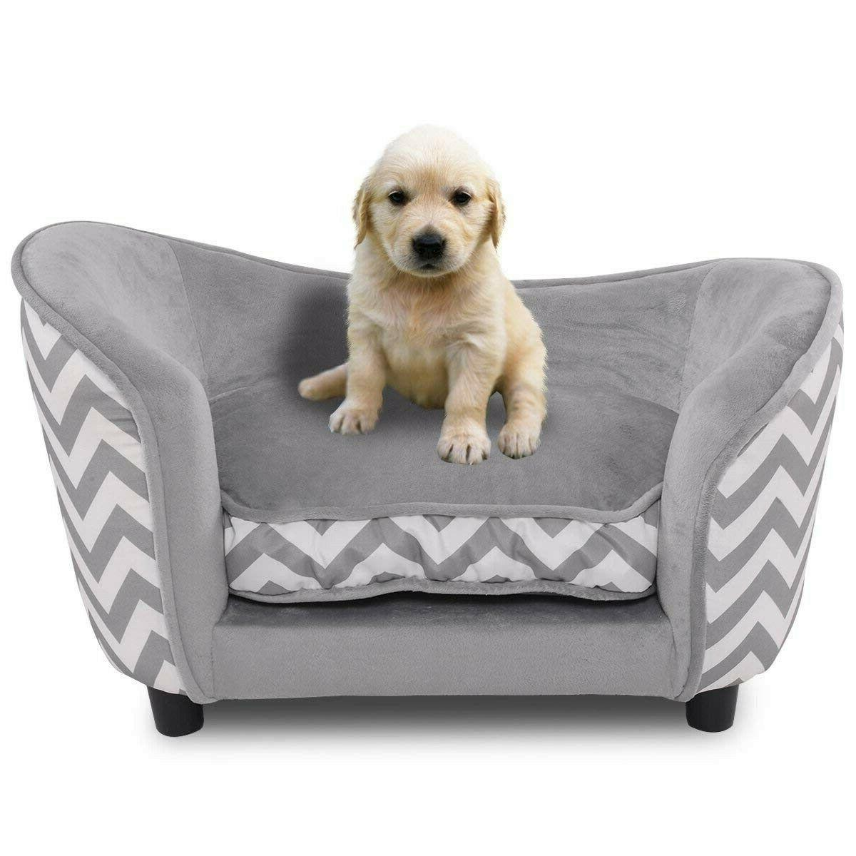 Small Dog Bed Beds Dogs Sofa Sleeping Soft Gray New