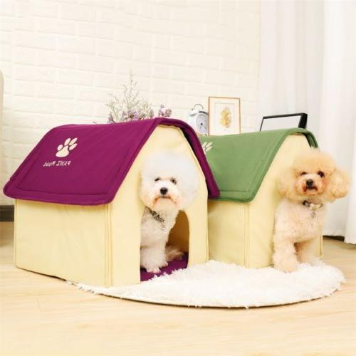 Small Dog House Pet Bed Cozy Puppy Cave Kennel Stable Portab