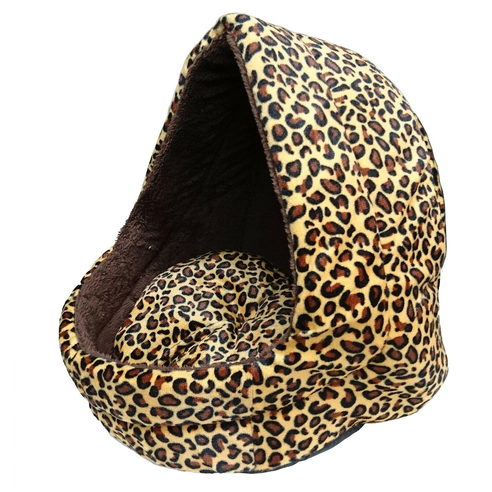 soft leopard pet dog cat bed house