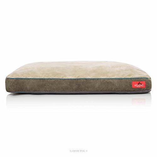 Brindle Soft Memory Foam Dog Removable 22in Khaki