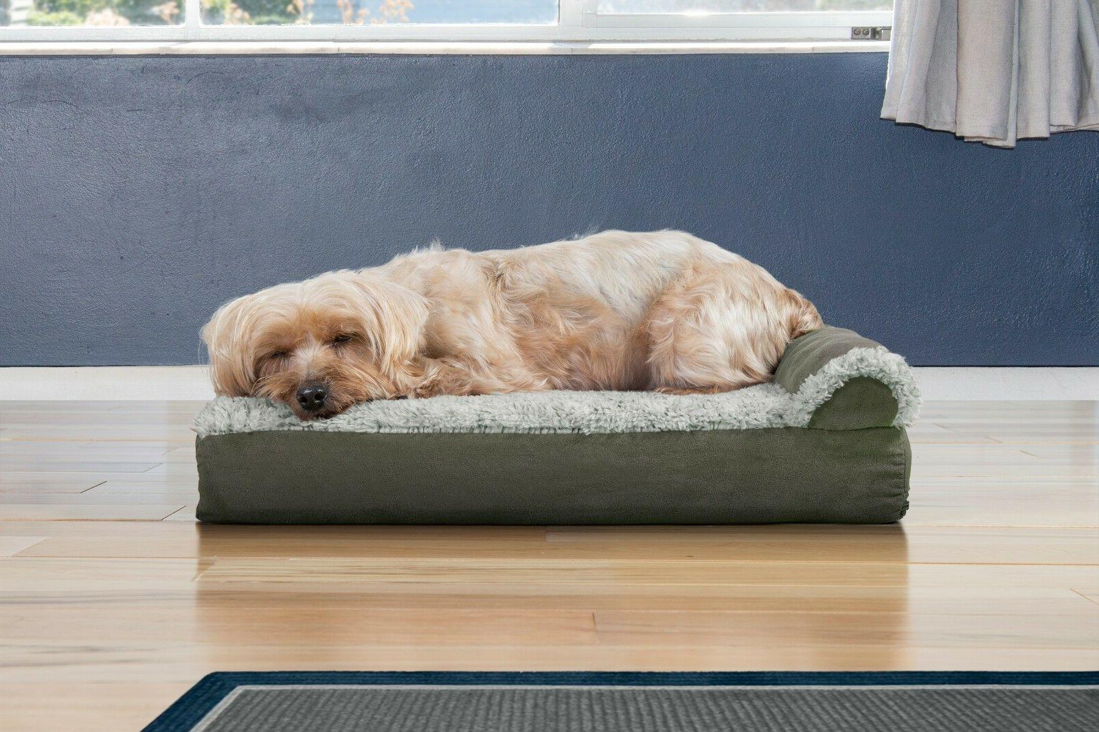 FurHaven Pet Two-Tone Fur & Chaise Dog Bed